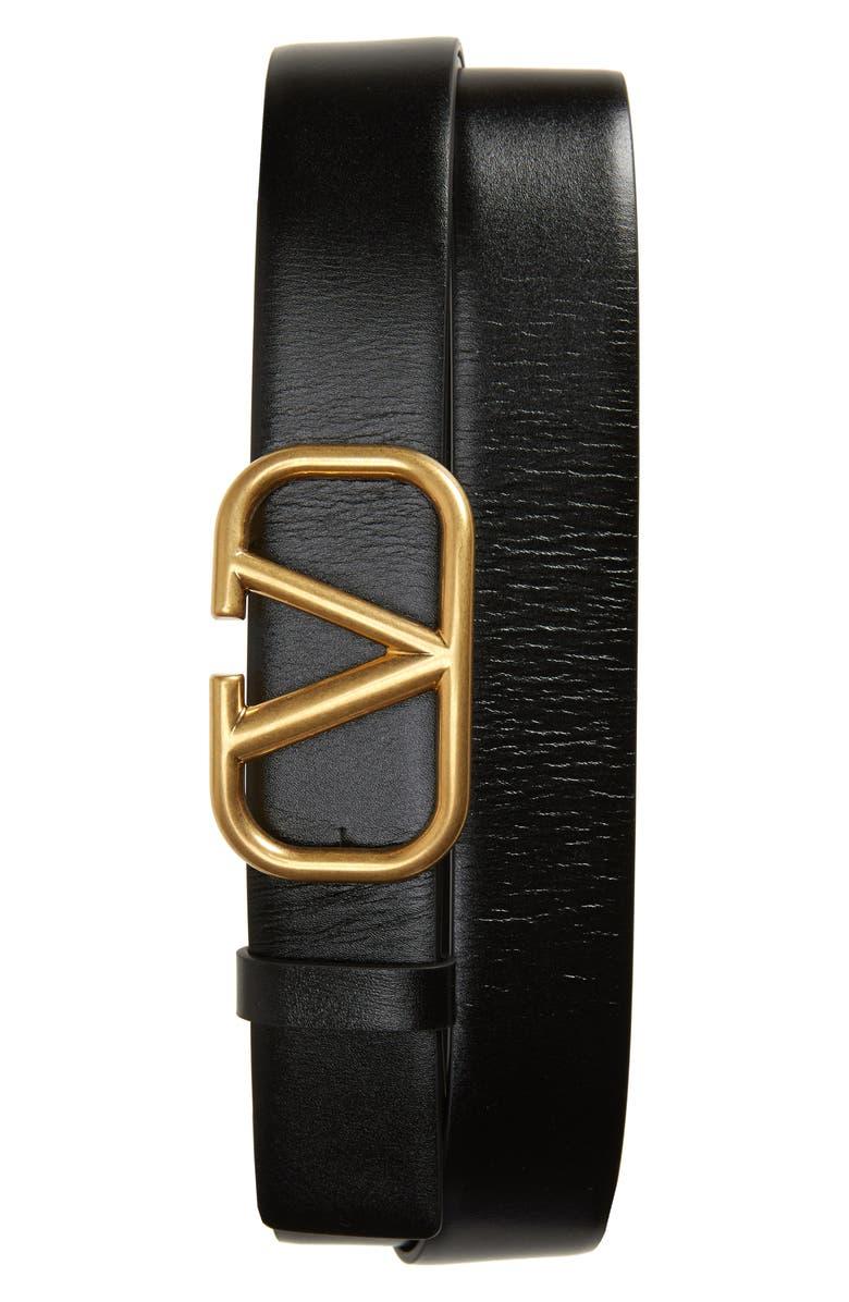 VALENTINO VLOGO Buckle Leather Belt, Main, color, BLACK