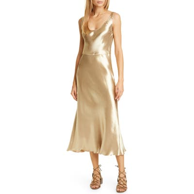 Vince Metallic Satin Tank Dress, Metallic