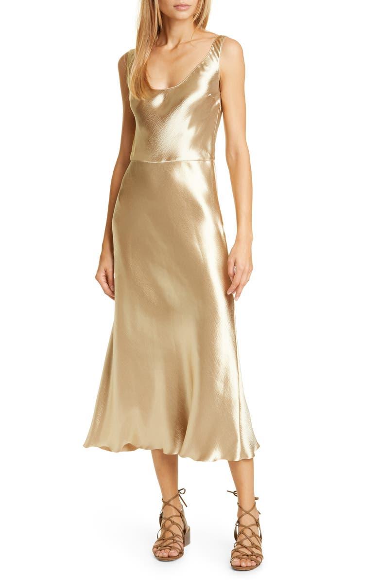 VINCE Metallic Satin Tank Dress, Main, color, PALE GOLD