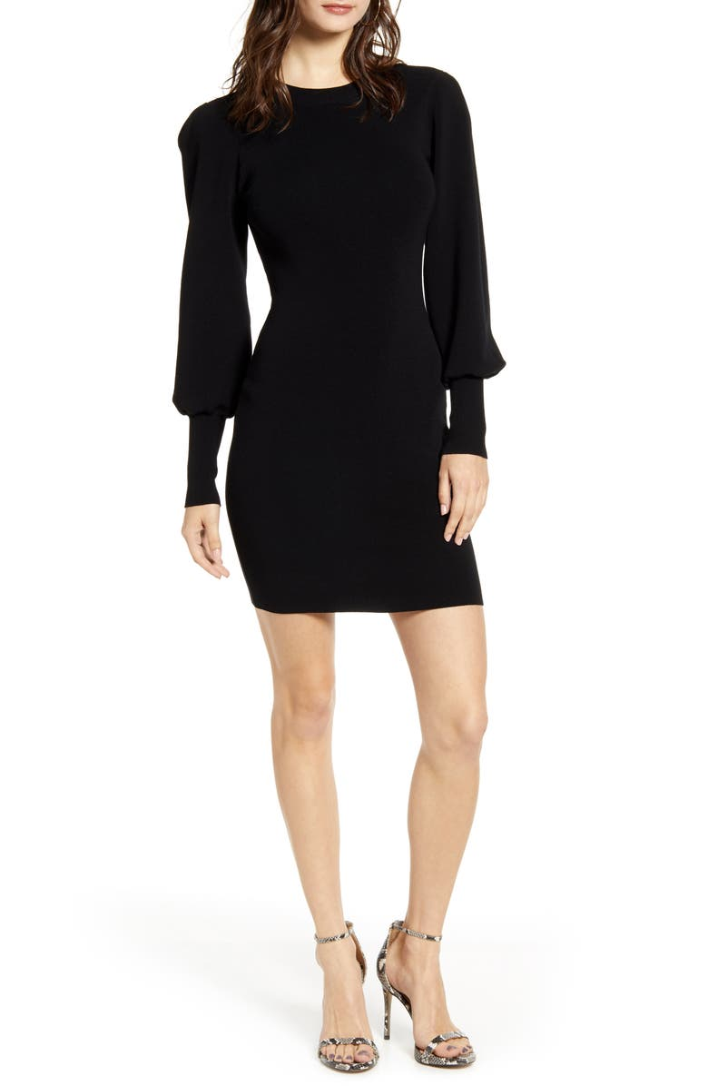 LEITH Long Sleeve Sweater Dress, Main, color, BLACK