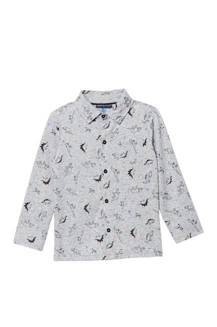 Image of Andy & Evan Dino Print Long Sleeve Button Down Shirt