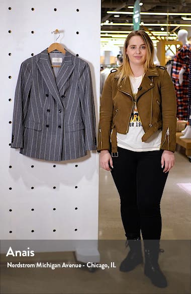 Cameron Chalk Stripe Double Breasted Wool & Alpaca Blend Jacket, sales video thumbnail