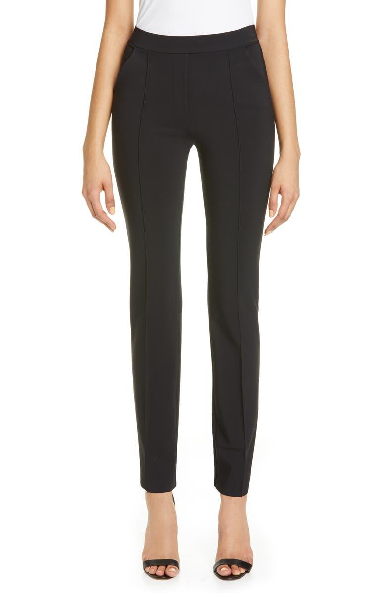 CHIARA BONI LA PETITE ROBE Nuccia Slim Pleat Pants, Main, color, BLACK
