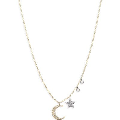 Meira T Moon & Star Diamond Pave Charm Necklace