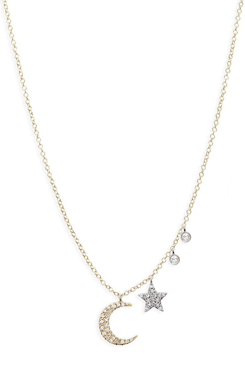 MEIRA T Moon & Star Diamond Pavé Charm Necklace, Main, color, 711
