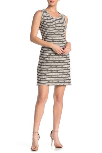 Image of Max Studio Textured Stripe Sleeveless Sheath Dress