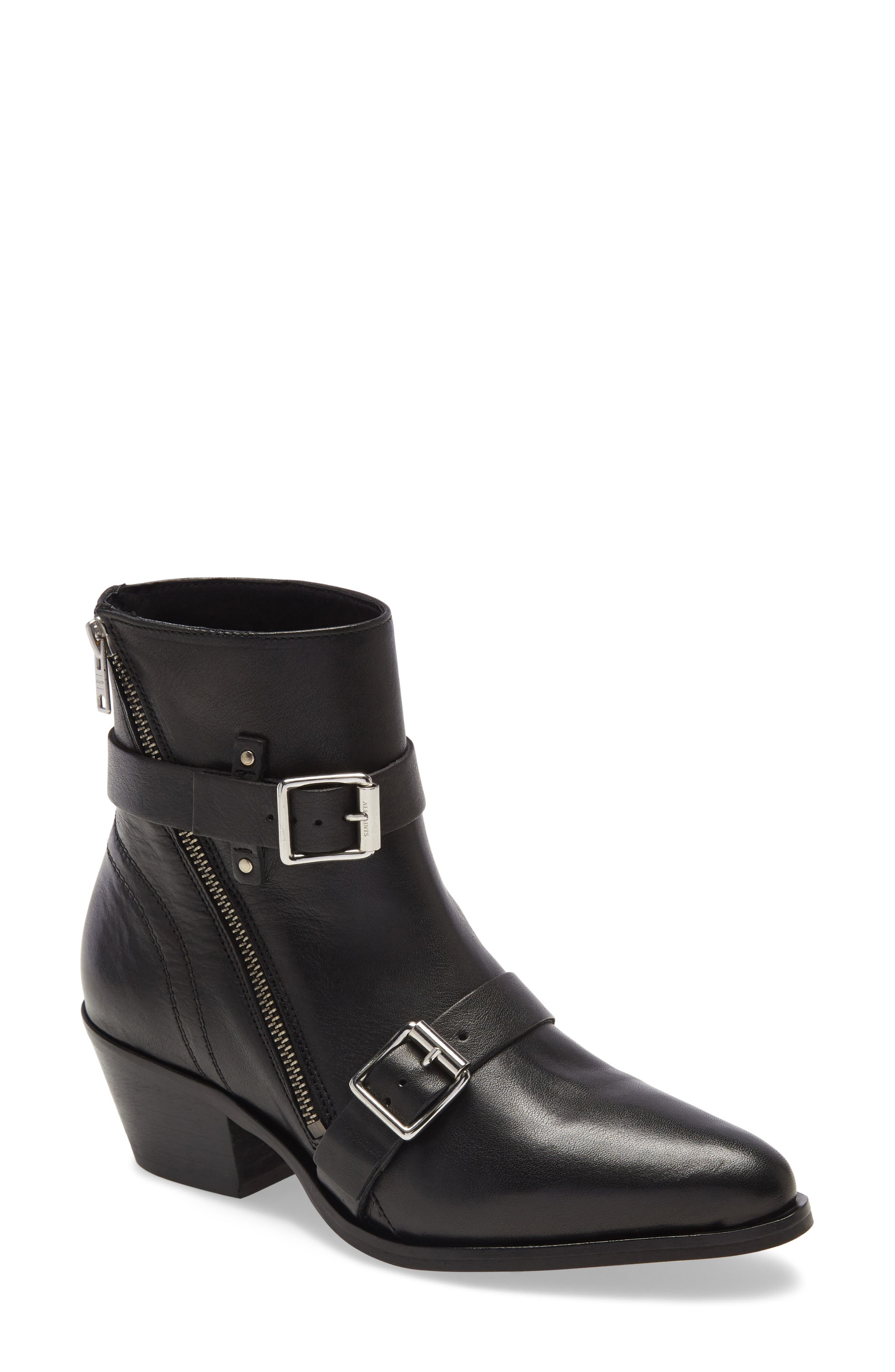 Gleaming buckle hardware lends an extra dash of attitude to a Western-inspired boot with an almond toe and stacked heel. Style Name: Allsaints Lior Bootie (Women). Style Number: 5984247. Available in stores.