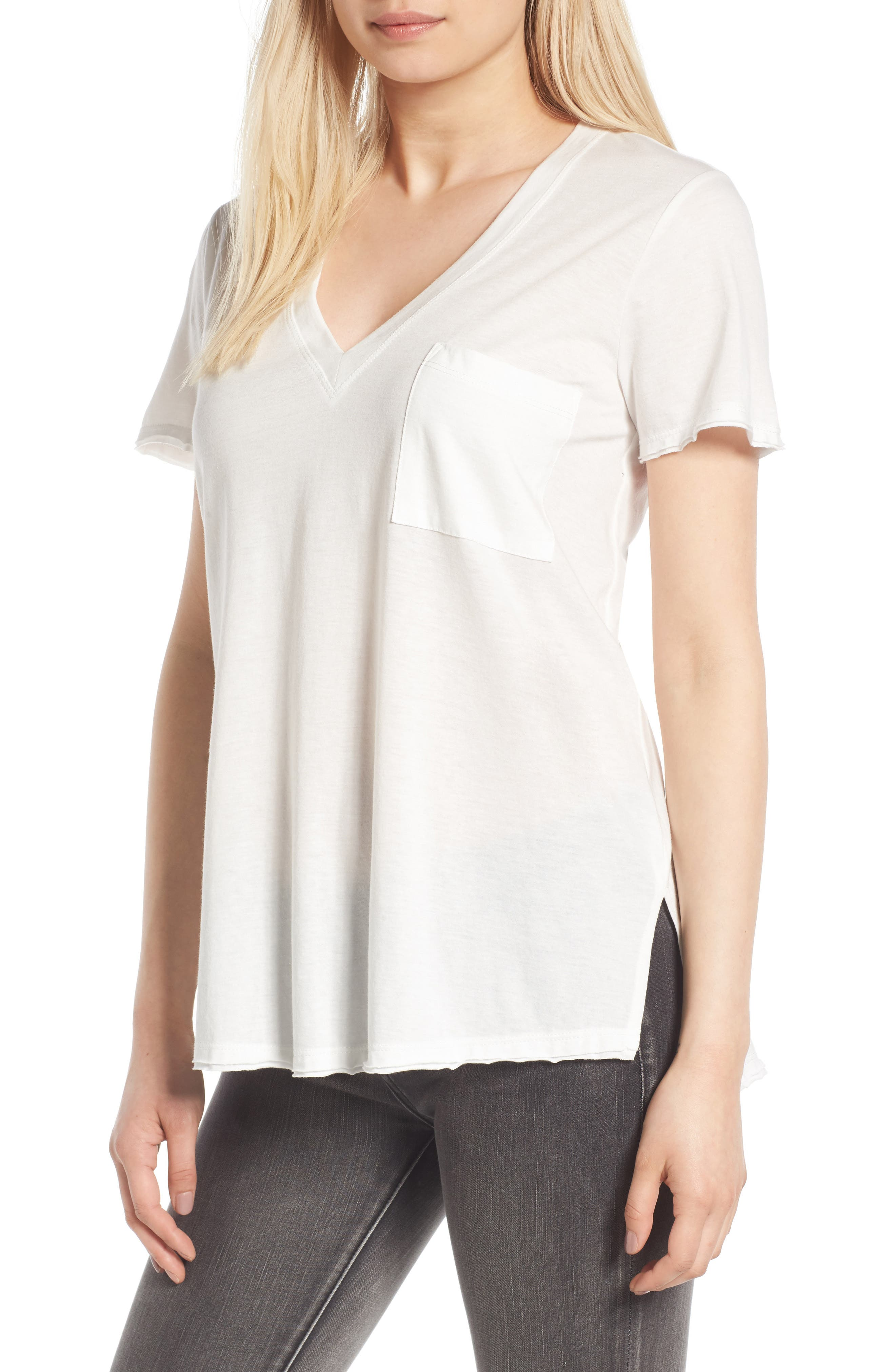 ,                             Raw Edge Side Slit Tee,                             Main thumbnail 31, color,                             100