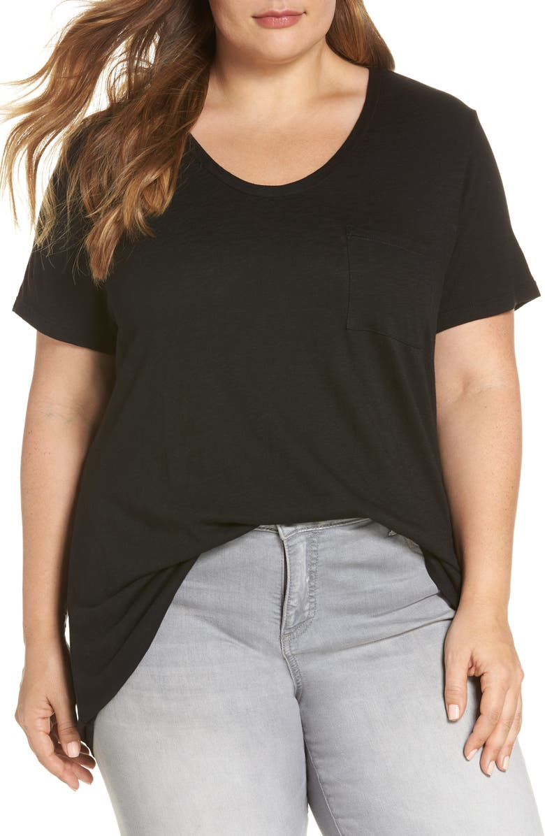 CASLON<SUP>®</SUP> Rounded V-Neck Tee, Main, color, BLACK