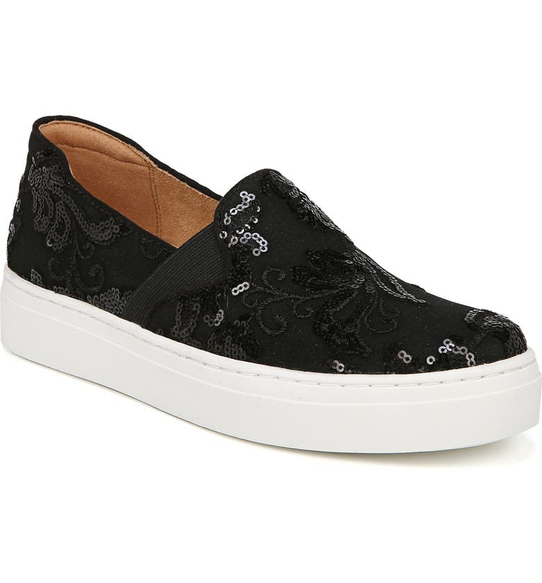 NATURALIZER Carly Slip-On Sneaker, Main, color, BLACK EMBROIDERED LACE