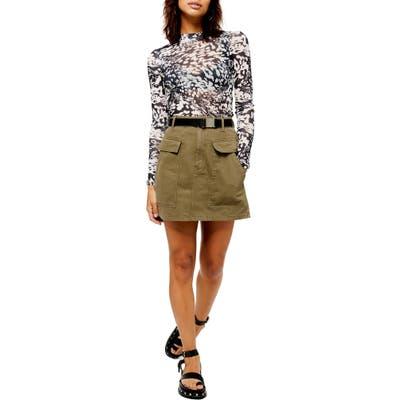 Topshop Pocket Clip Miniskirt, US (fits like 2-4) - Green