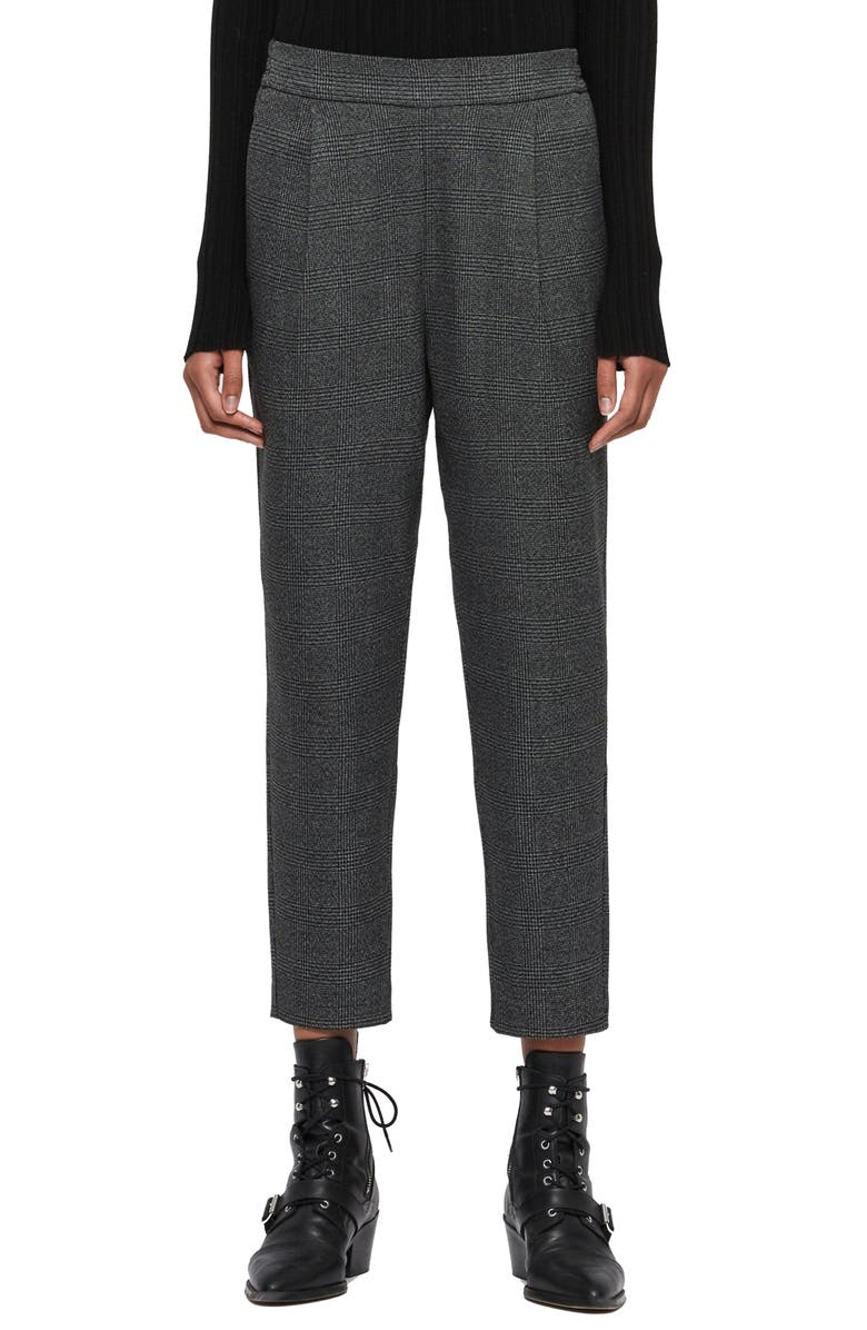 ALLSAINTS Anneka Plaid Ankle Trousers, Main, color, GREY/ BLACK