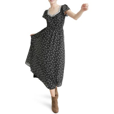 Madewell Sheer Sleeve Mixed Branch Floral Print Dress, Black