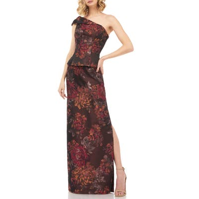 Kay Unger Asia Kensington Jacquard One-Shoulder Evening Gown, Orange