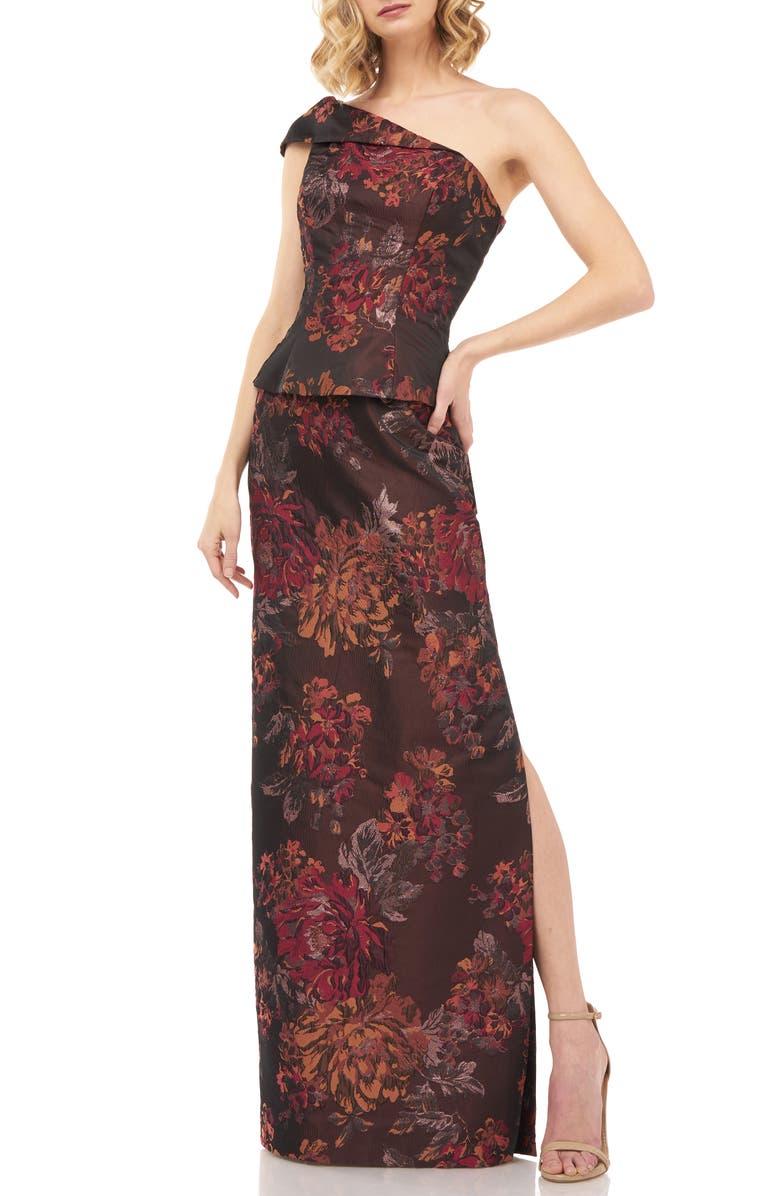 KAY UNGER Asia Kensington Jacquard One-Shoulder Evening Gown, Main, color, AUTUMN ORANGE