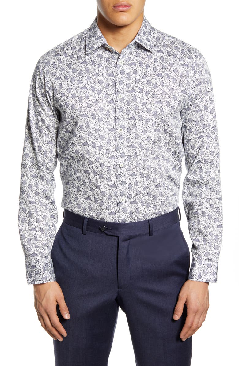 TED BAKER LONDON Modern Fit Floral Dress Shirt, Main, color, WHITE