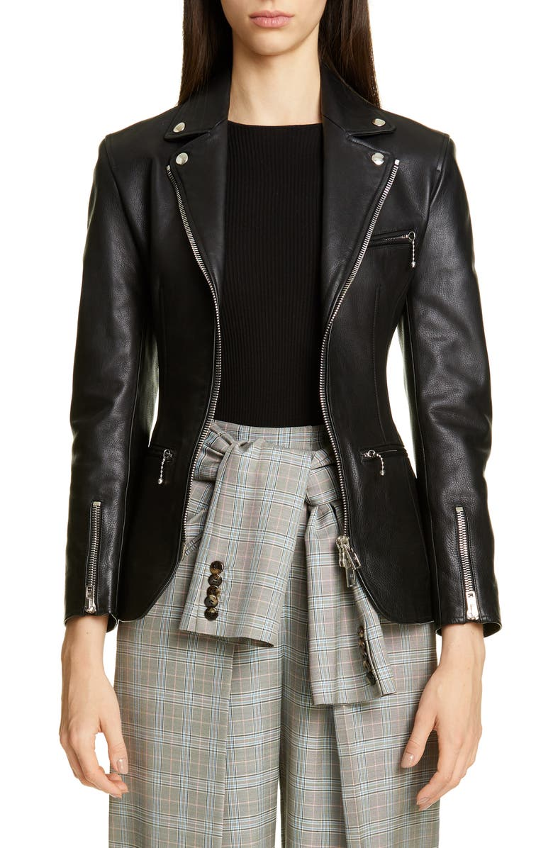 ALEXANDER WANG Ball Chain Leather Moto Jacket, Main, color, BLACK