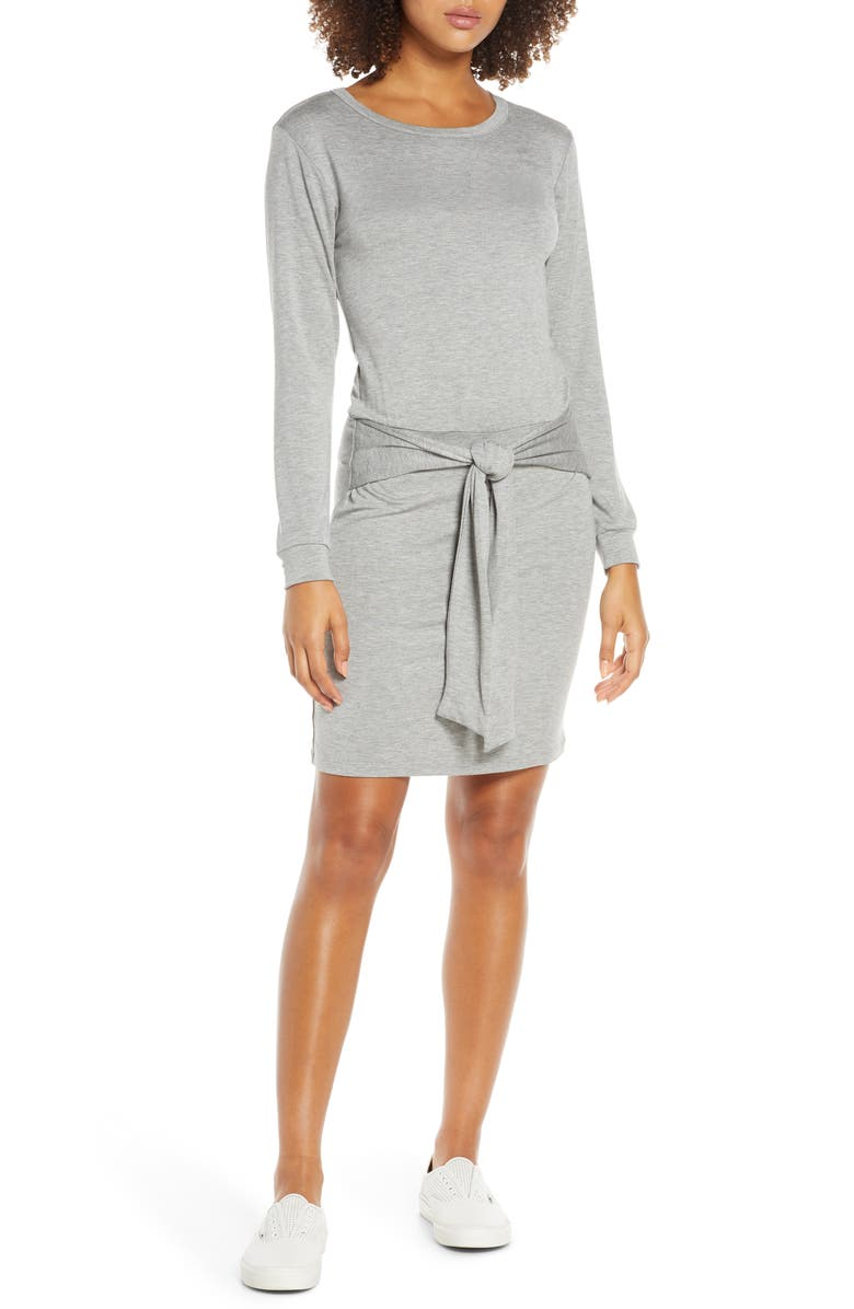 FRAICHE BY J Tie Front Long Sleeve Jersey Dress, Main, color, H.GREY