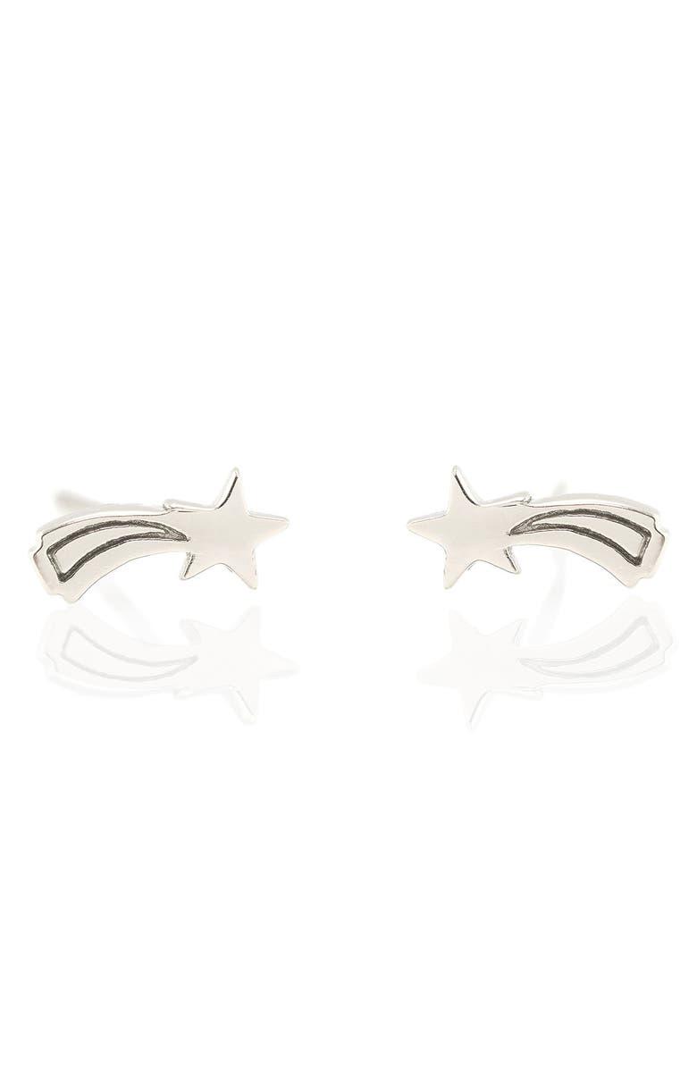 KRIS NATIONS Shooting Star Stud Earrings, Main, color, SILVER