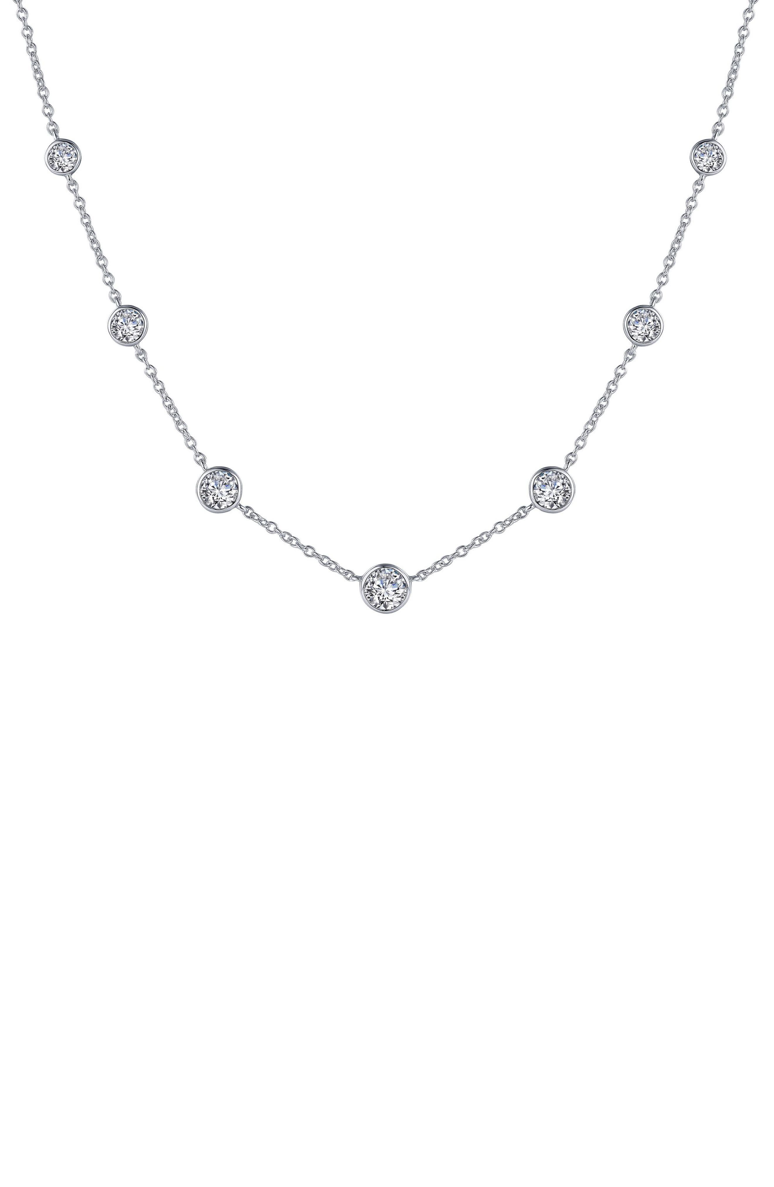 The always lucky number seven is ready to shower gifting good fortune on whomever you gift this simulated-diamond necklace to. Style Name: Lafonn Seven Symbols Of Joy Simulated Diamond Station Necklace. Style Number: 6183251. Available in stores.