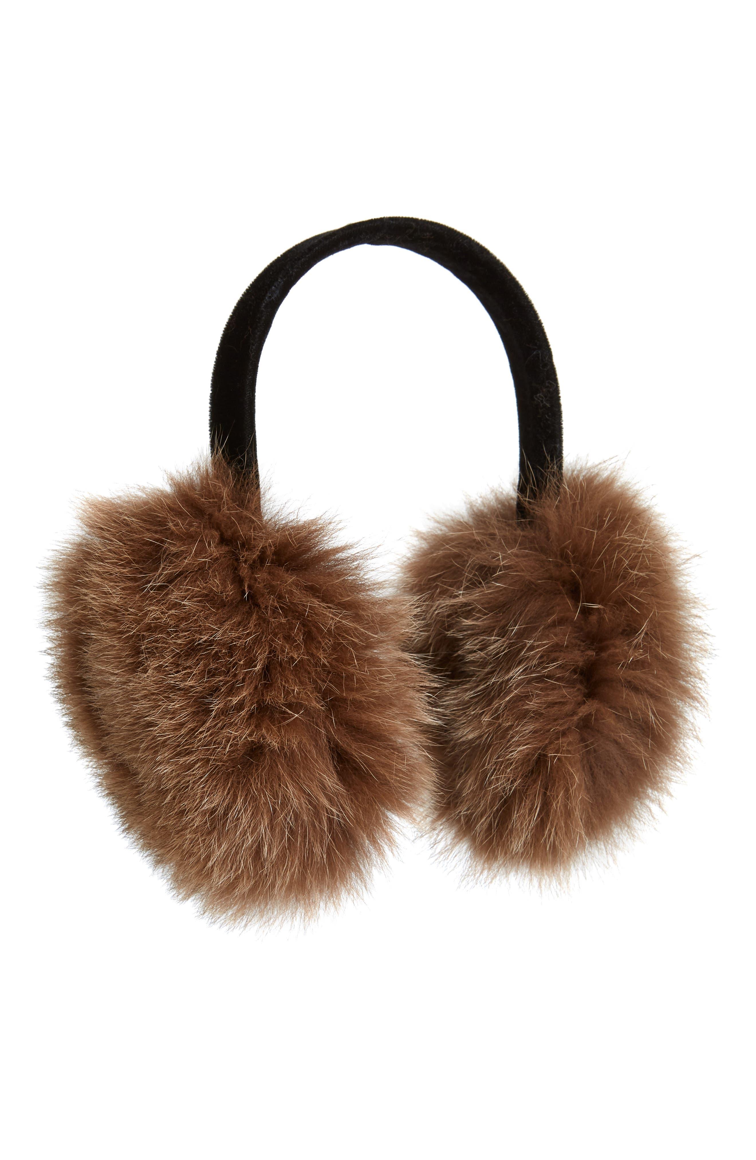 Genuine Fox Fur Earmuffs, Main, color, 202