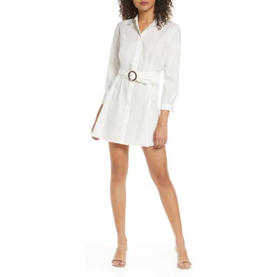 Bb Dakota Belted Cotton Eyelet Shirtdress, White