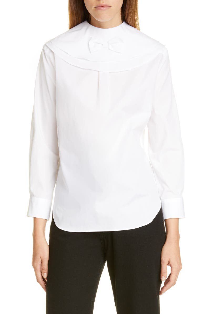 TRICOT COMME DES GARÇONS Bow Neck Backwards Cotton Shirt, Main, color, WHITE