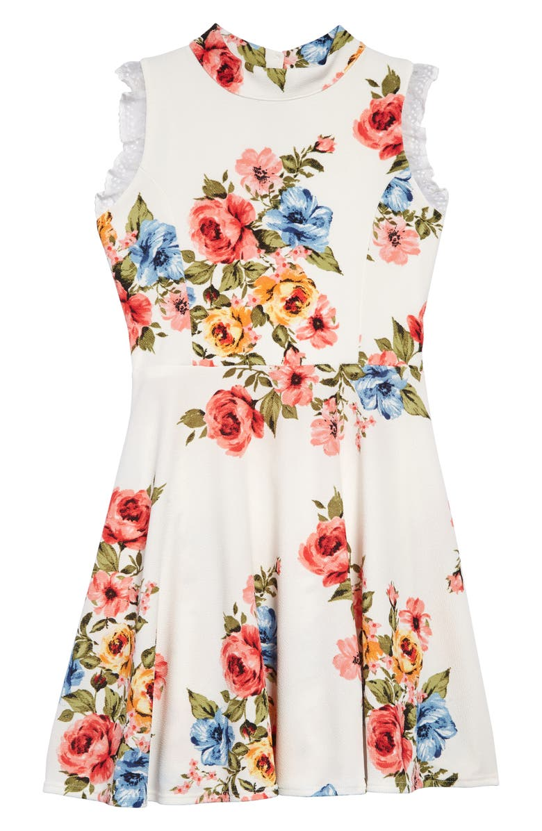 AVA & YELLY Floral Print Skater Dress, Main, color, WHITE