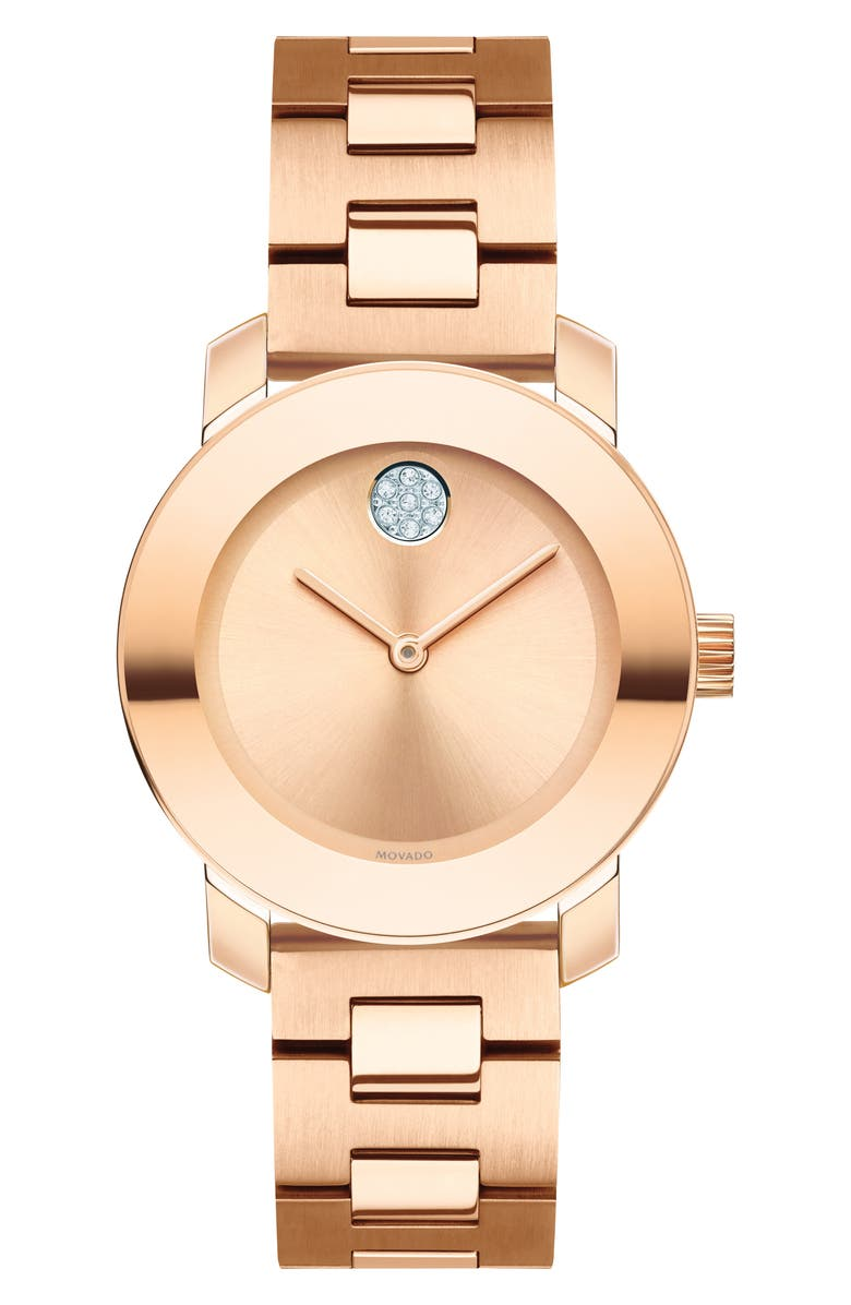 MOVADO Bold Iconic Bracelet Watch, 30mm, Main, color, ROSE GOLD