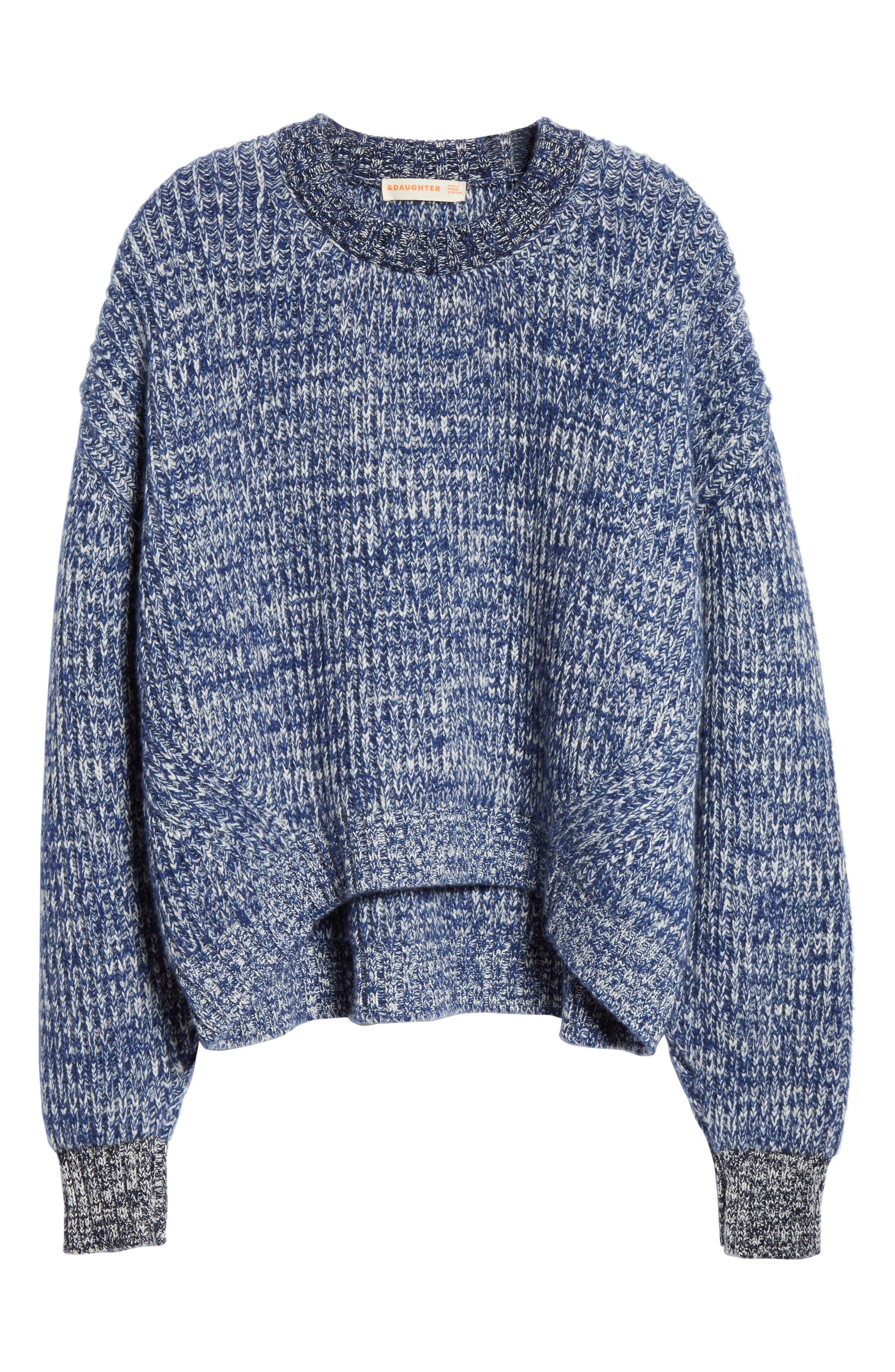,                             Mavie Chunky Wool & Cashmere Sweater,                             Alternate thumbnail 6, color,                             BLUE MARL