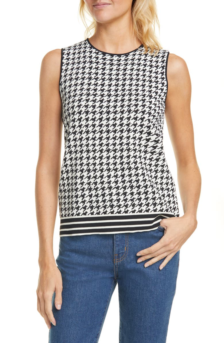 TED BAKER LONDON Syrenia Houndstooth Check Sleeveless Top, Main, color, BLACK