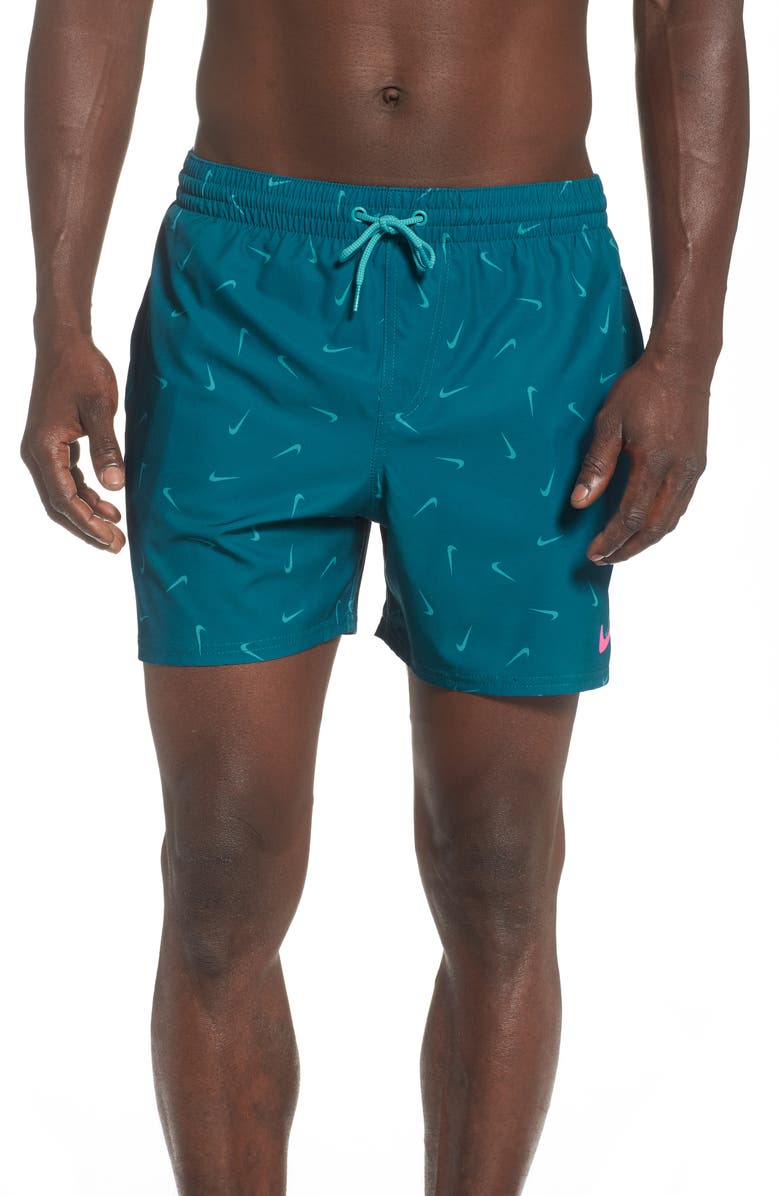 NIKE Funfetti Lap Volley Swim Trunks, Main, color, GREEN ABYSS