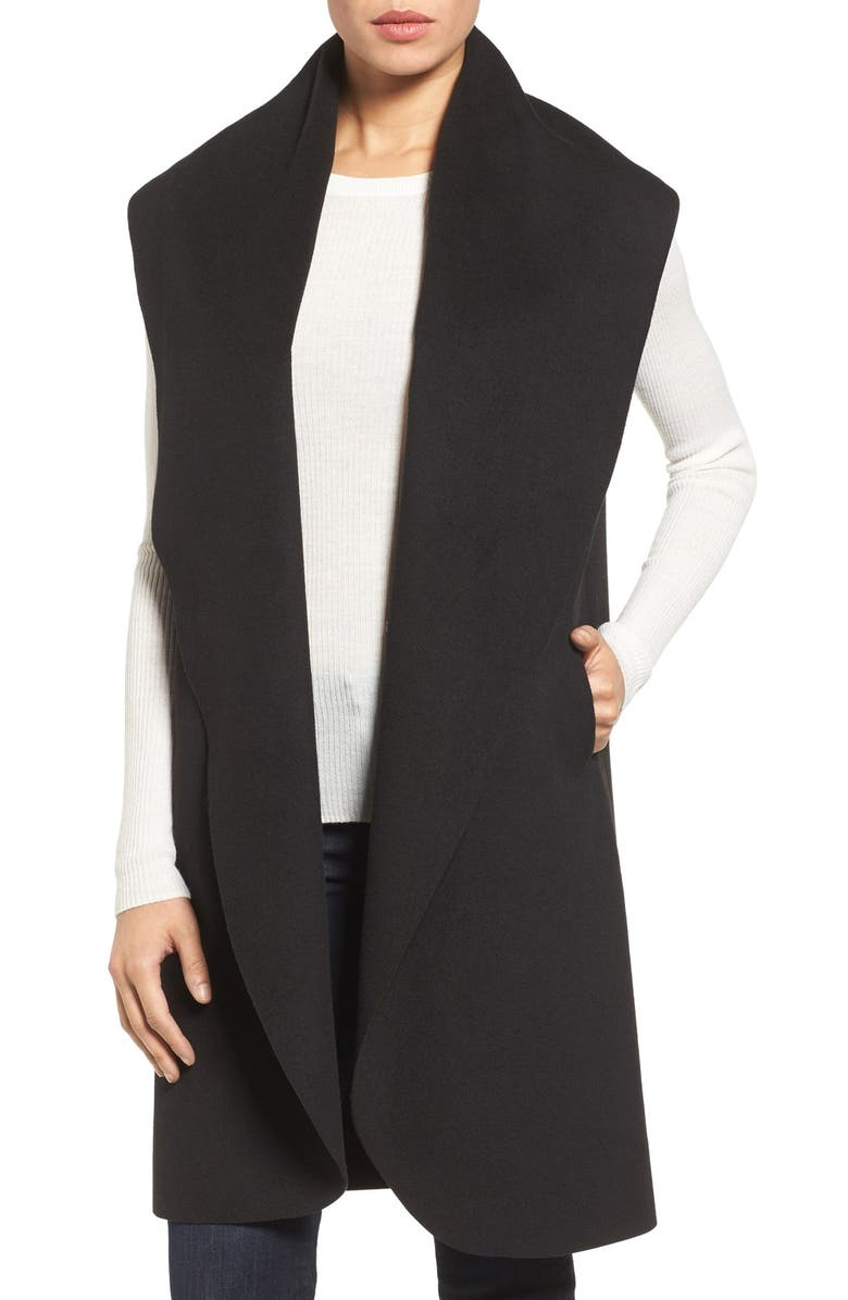 HALOGEN<SUP>®</SUP> 'Waterfall' Drape Front Vest, Main, color, 001