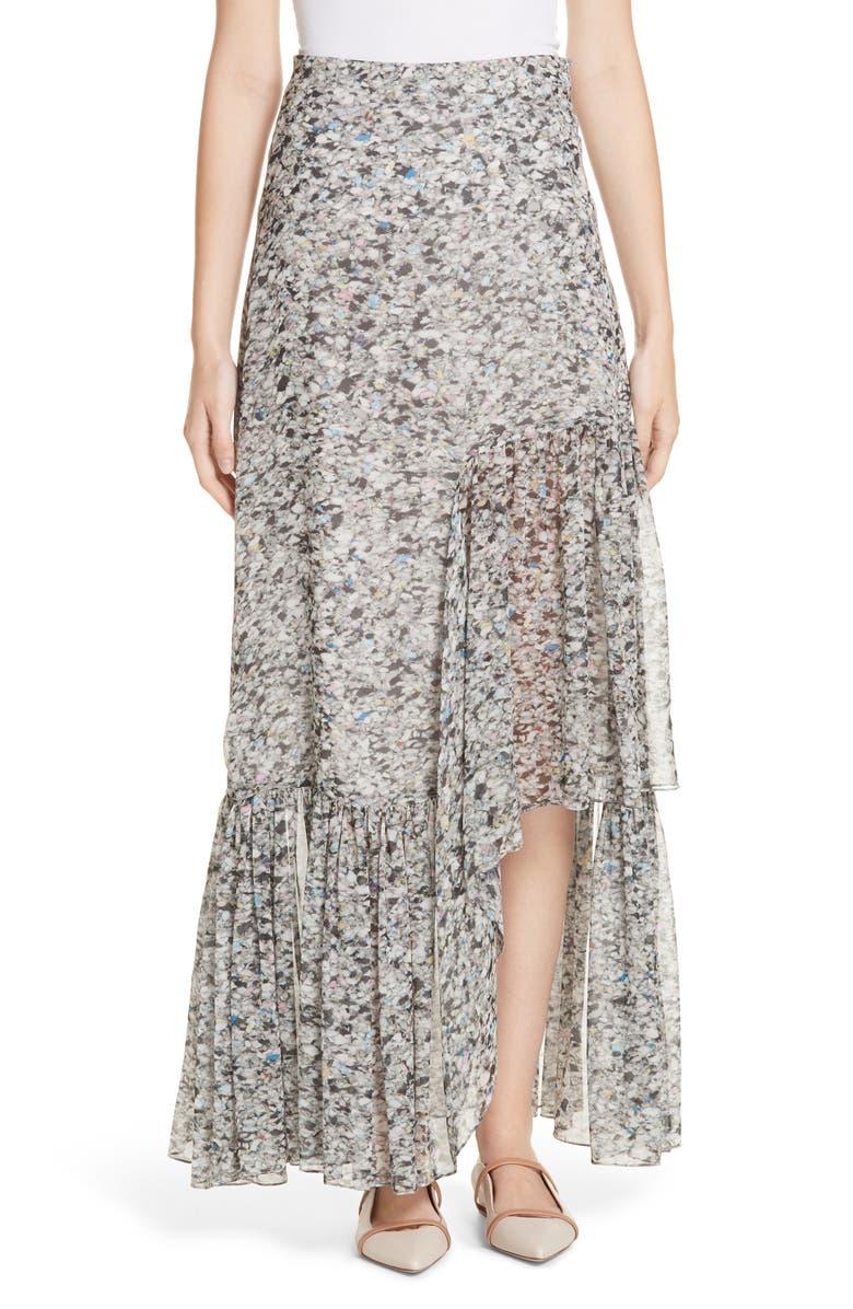 ROSETTA GETTY Foam Print Asymmetrical Silk Skirt, Main, color, 020