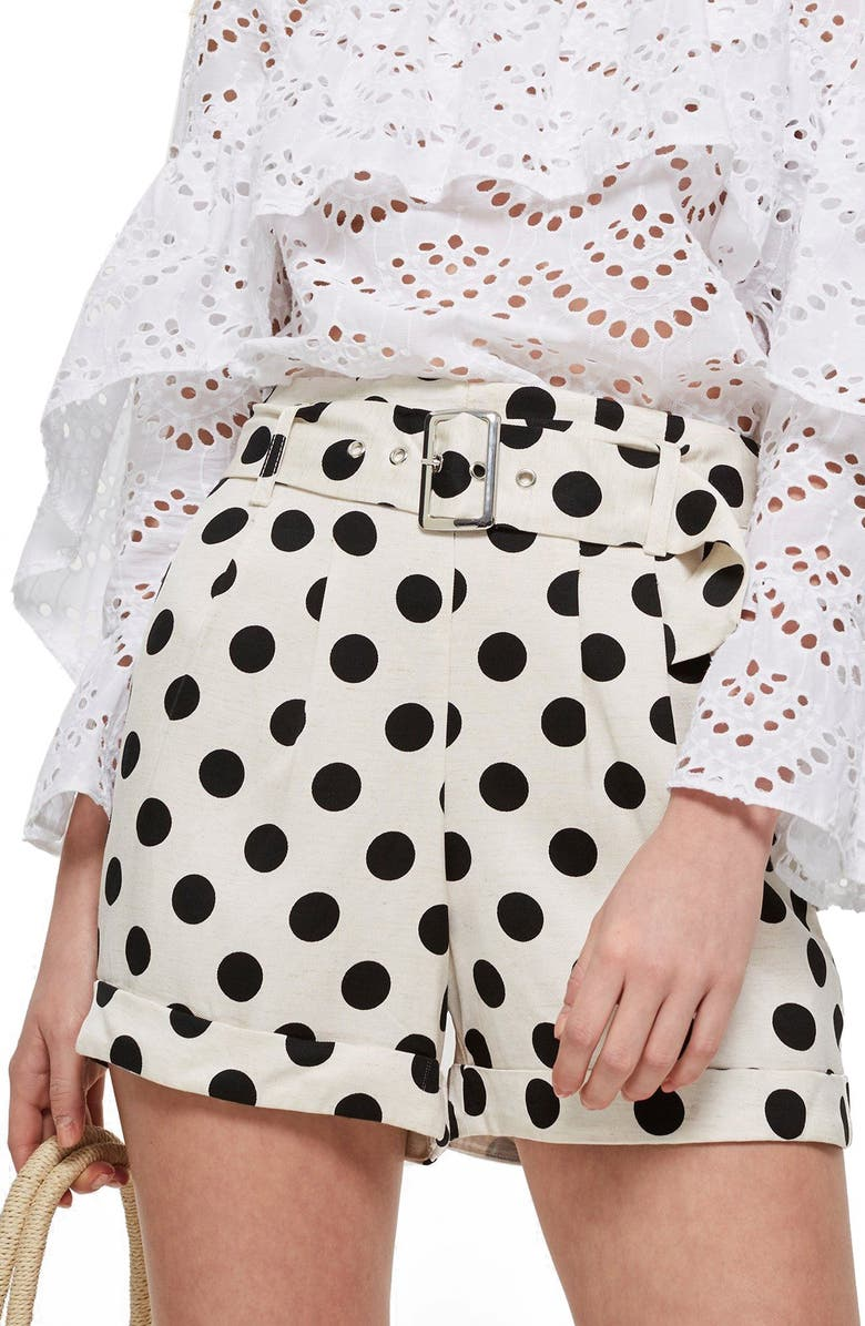 TOPSHOP Polka Dot Shorts, Main, color, 101