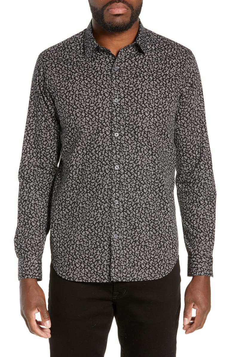 JEFF Jenner Slim Fit Floral Print Shirt, Main, color, BLACK