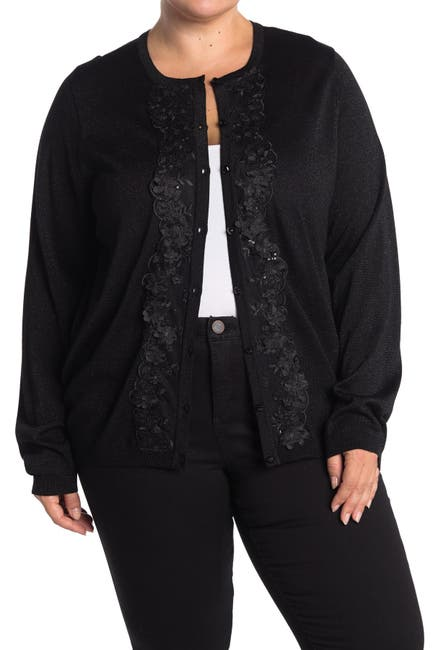 Image of JOSEPH A Metallic Lace Button Front Cardigan