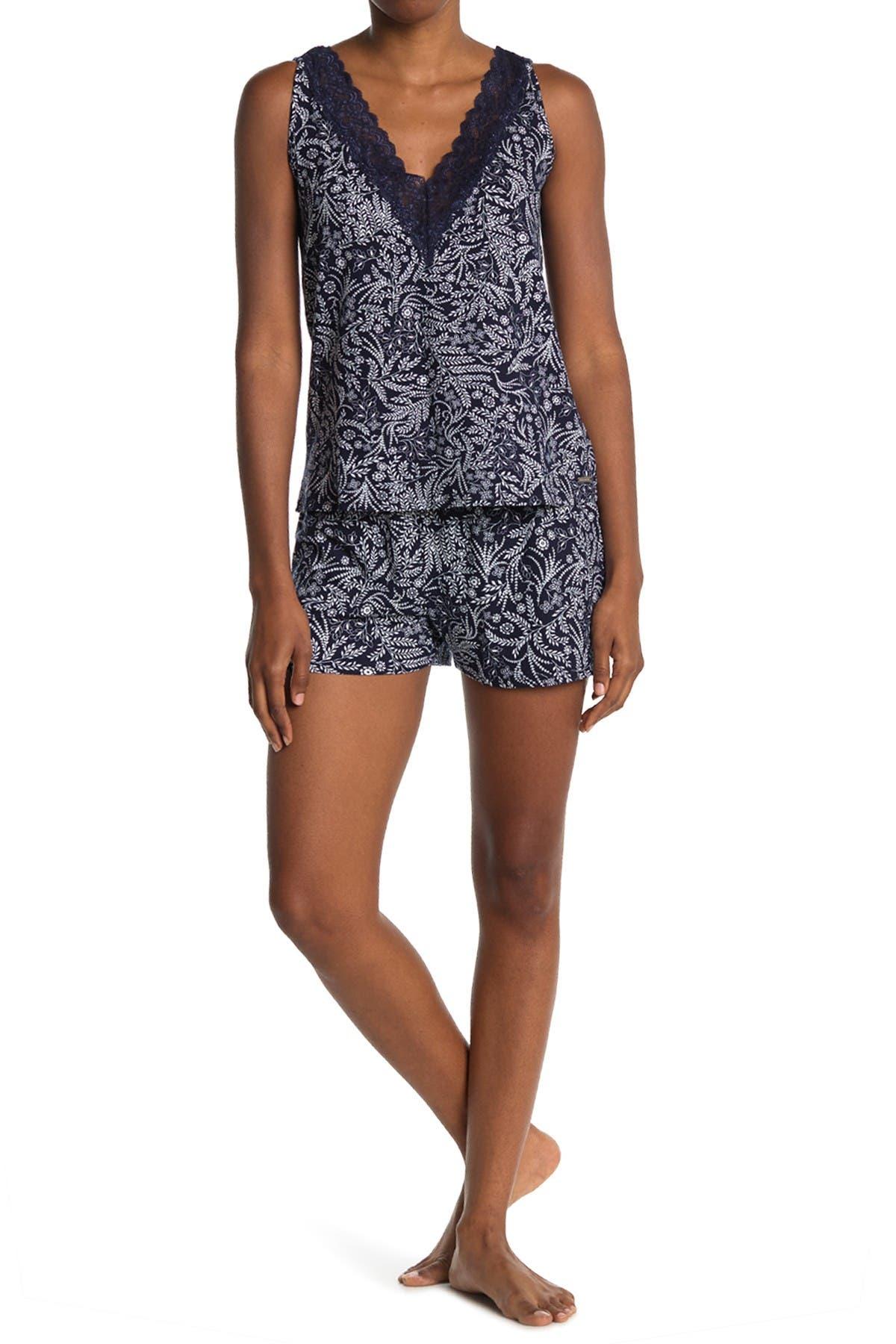 Image of Tahari Lace V-Neck Tank & Shorts Pajama Set