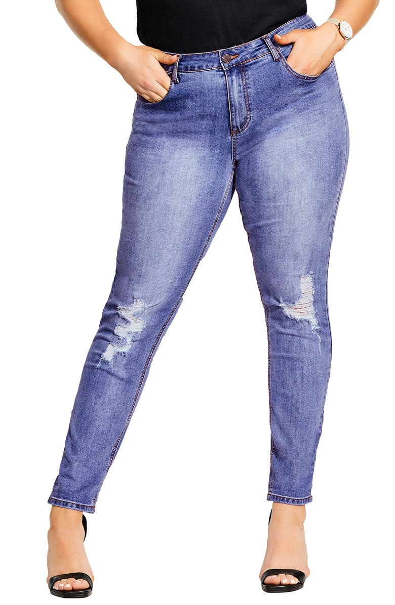 CITY CHIC Jean Harley Distressed Skinny Jeans, Main, color, LIGHT DENIM