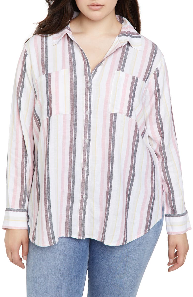 SANCTUARY Favorite Boyfriend Linen Blend Shirt, Main, color, 650