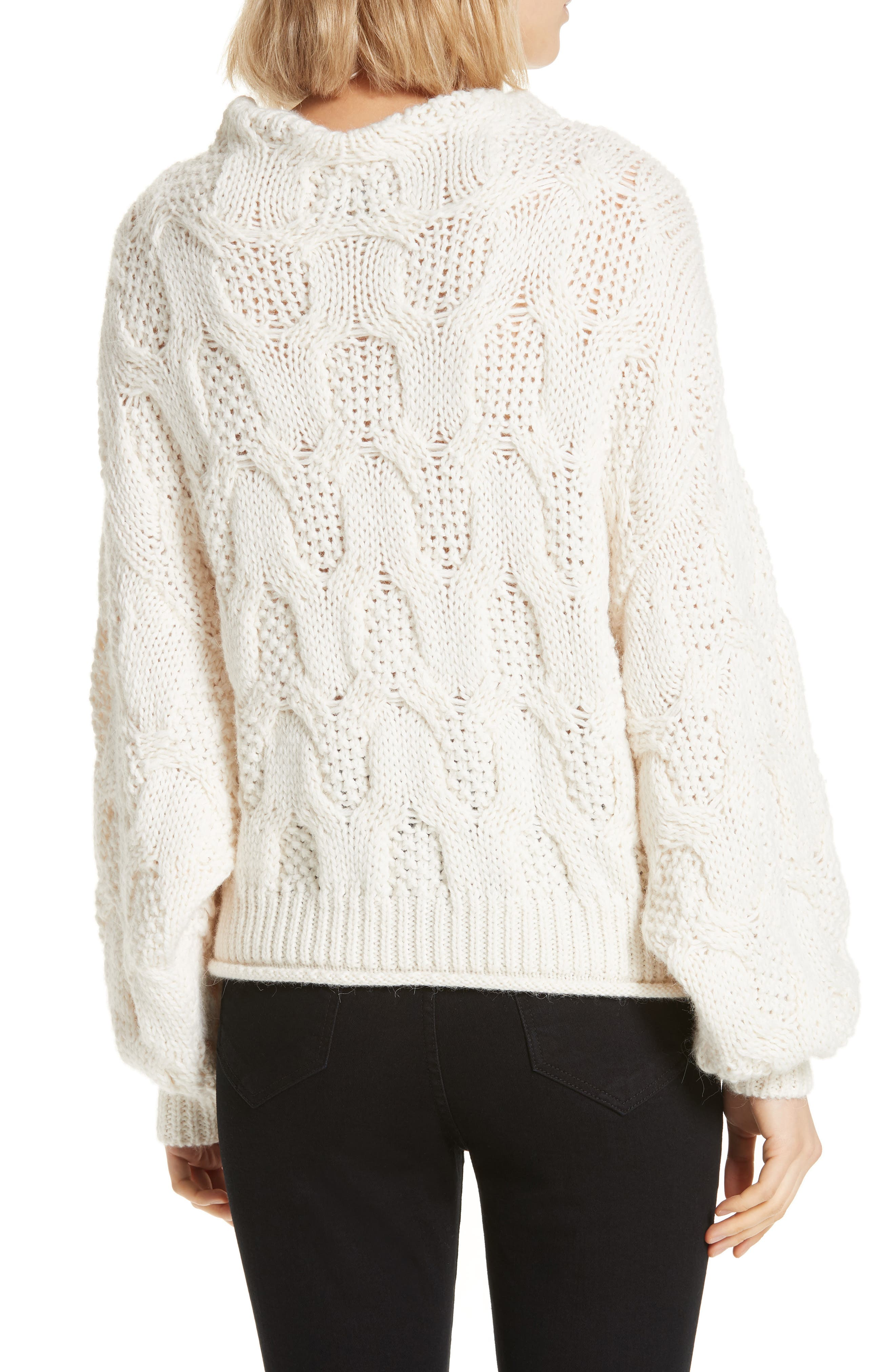 ,                             Cable Knit Alpaca Wool Blend Sweater,                             Alternate thumbnail 2, color,                             900