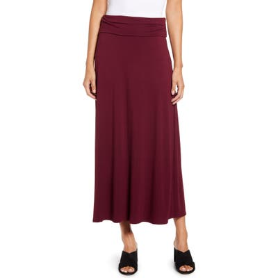 Loveappella Roll Top Maxi Skirt, Burgundy