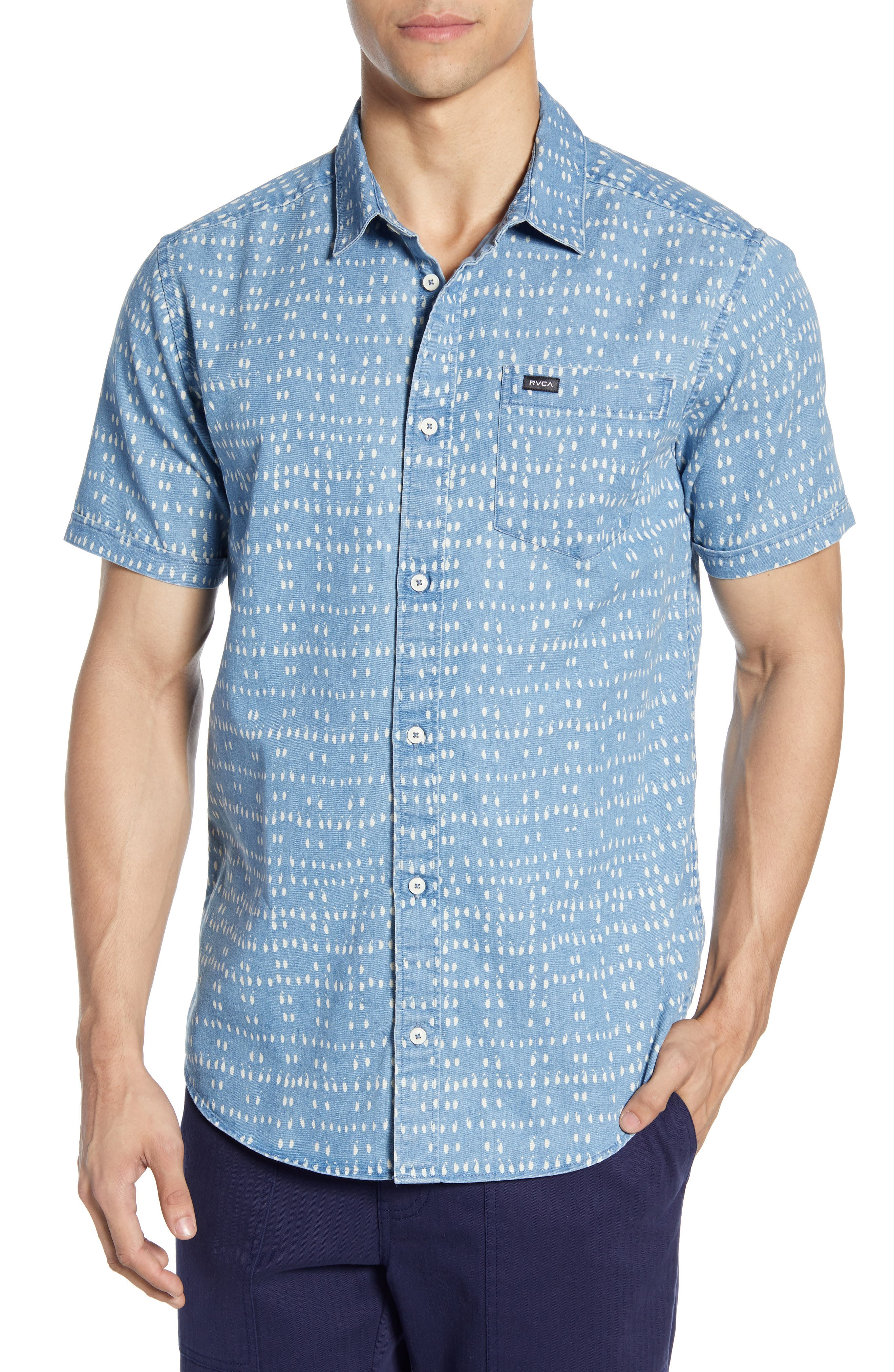 Nakama Dot Slim Fit Woven Shirt, Main, color, DENIM