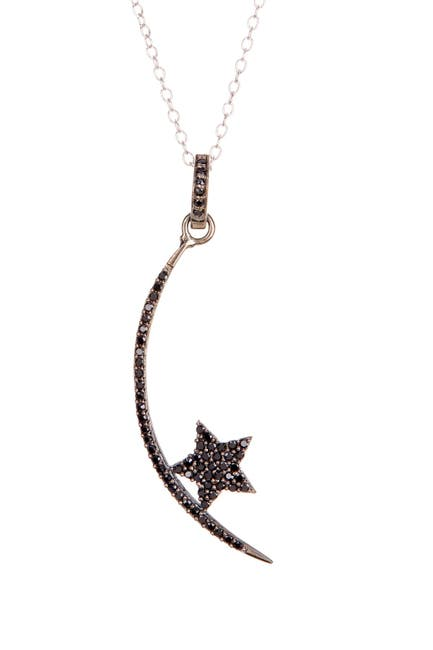 Image of ADORNIA Sterling Silver Orion Black Spinel Pendant Necklace