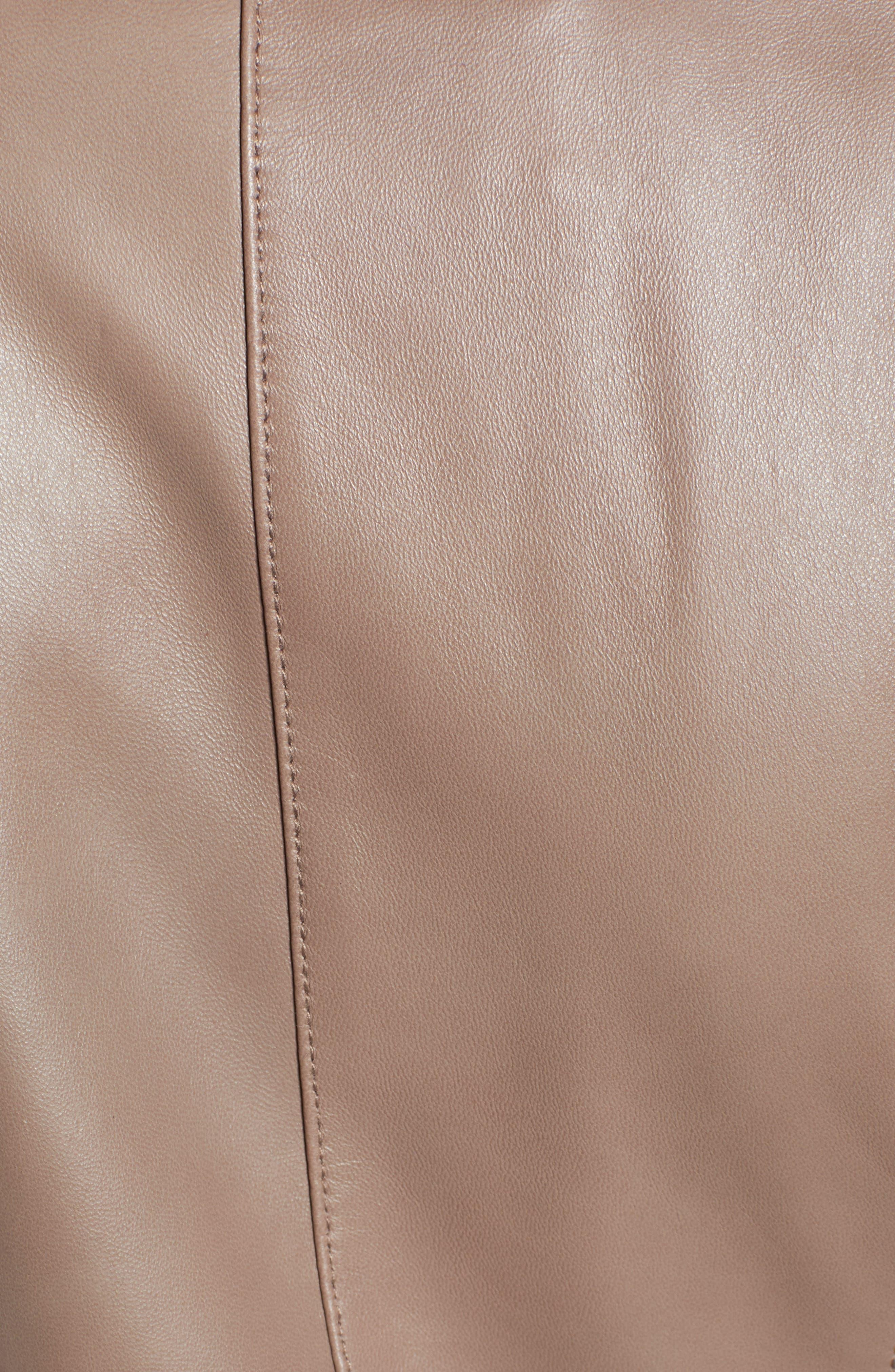 ,                             Leather Moto Jacket,                             Alternate thumbnail 6, color,                             TAUPE