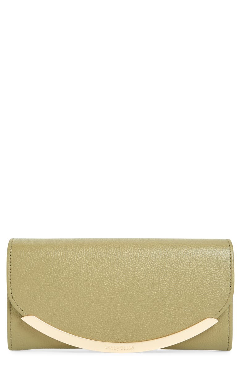 SEE BY CHLOÉ Lizzie Leather Continental Wallet, Main, color, SAFARI KHAKI