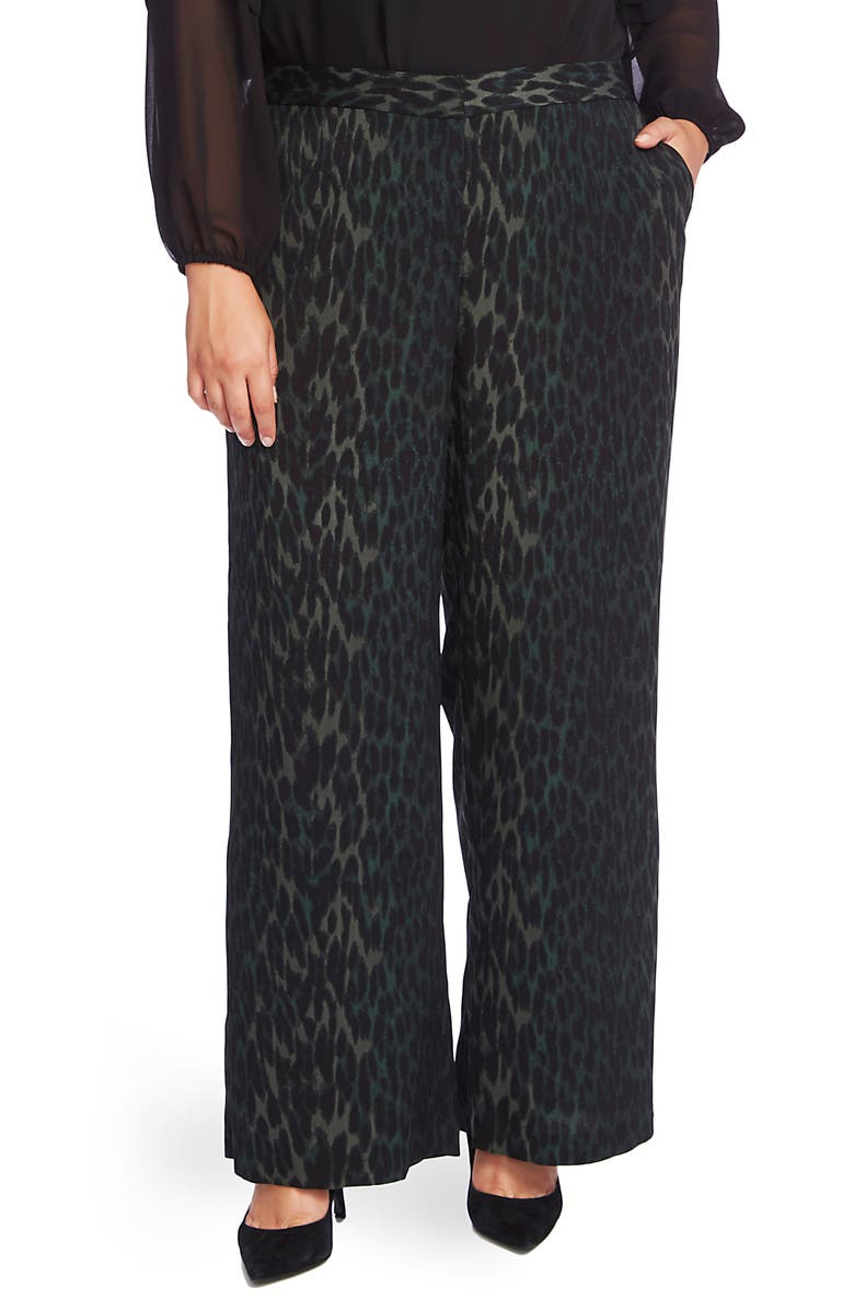 VINCE CAMUTO Animal Phrases Wide Leg Pants, Main, color, DARK WILLOW