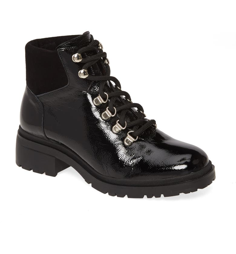 WONDERS C-4840 Lace-Up Boot, Main, color, TUMBLED BLACK PATENT LEATHER