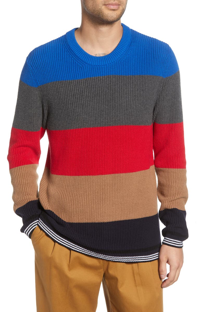 FRENCH CONNECTION Stripe Regular Fit Cotton Sweater, Main, color, 640