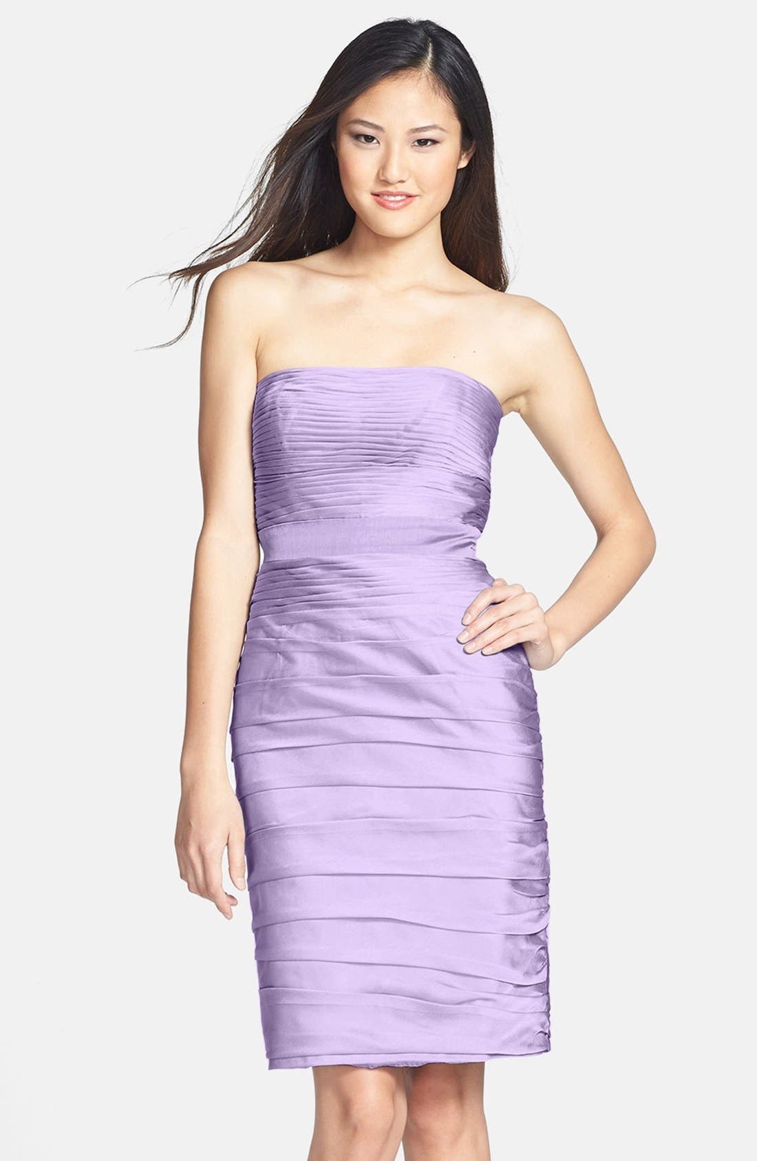 ,                             Ruched Strapless Cationic Chiffon Dress,                             Main thumbnail 56, color,                             533